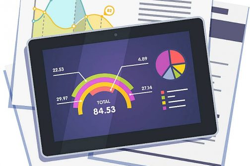 Statistical data abstract with graphs and charts on paper and tablet computer. Flat style vector illustration isolated on white background.